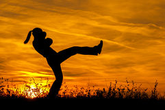 Silhouette of beautiful kick boxing girl exercising kick in the nature. On sunny summer day Stock Photo