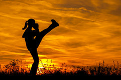Silhouette of beautiful kick boxing girl exercising kick in the nature. On sunny summer day Stock Image