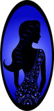 Silhouette beautiful luxury woman in blue frame Stock Image