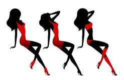 Silhouette of beautiful slip of a girl Royalty Free Stock Images