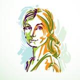 Silhouette of beautiful tender woman, graphic vector illustratio Stock Photos