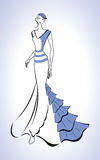 Silhouette of beautiful woman in blue evening dress and beret - vector illustration Stock Photo