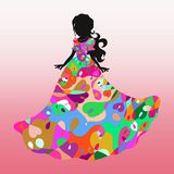 Silhouette of a beautiful woman in a gorgeous dress with an exquisite pattern.  Royalty Free Stock Photos
