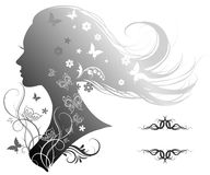 Silhouette of a beautiful woman with long hair Royalty Free Stock Image