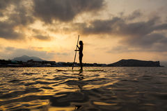 Silhouette of a beautiful woman on Stand Up Paddle Board. Royalty Free Stock Photo