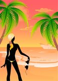 Silhouette Beautiful young girl. Black silhouette Beautiful young girl on the summer beach Stock Illustration