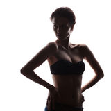 Silhouette of beautiful young woman Stock Photo
