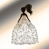 Silhouette of a beauty in a dress, drawn with lines with curls,. Exquisite pattern Stock Photo