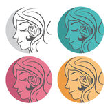 Silhouette beauty woman  hair with flower and leaves. Vector Royalty Free Stock Image