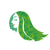 Silhouette beauty woman hair with flower and leaves. Vector Stock Photography