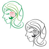 Silhouette beauty woman hair with flower and leaves. Vector Royalty Free Stock Photography