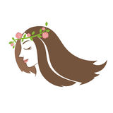Silhouette beauty woman  hair with flower and leaves. Vector Stock Photo