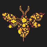 Silhouette of a bee lined with honey, bees and flowers. Style for Khokhloma royalty free illustration