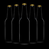 Silhouette of beer bottles isolated on black background Stock Images