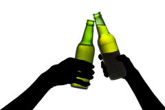 Silhouette of beer toasting royalty free stock photos