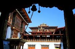 Silhouette of bell at Punakha Dzong, Bhutan royalty free stock photo