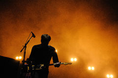 Silhouette of Ben Gibbard, vocalist and guitarist of The Postal Service band Stock Photo