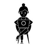 Silhouette beutiful girl using laptop sitting Royalty Free Stock Photography
