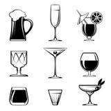 Silhouette Beverage Glass Icons on White Stock Photos