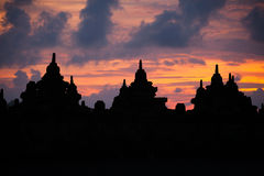 Silhouette of Bhuddhist stupa at sunrise. Borobudur, Indonesia Stock Photography