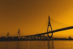 Silhouette Bhumibol Bridge or Industrial Ring Road bridge at twi Royalty Free Stock Photo