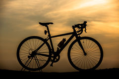 Silhouette Bicycle with beautiful landscape Stock Photo