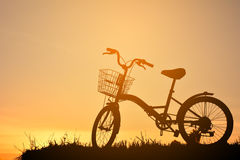 Silhouette of bicycle Stock Photos