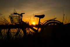 Silhouette of bicycle Stock Images