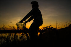 Silhouette of bicycle Royalty Free Stock Photo