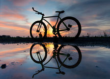 Silhouette of a bicycle Royalty Free Stock Photo