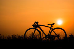 Silhouette of a bicycle. On sunset background. space for text Royalty Free Stock Image