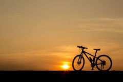 Silhouette of  bicycle Stock Image