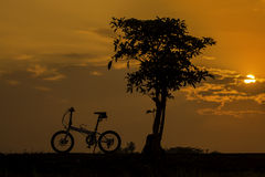 Silhouette bicycle Stock Photography
