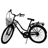 Silhouette of Bicycle on white background Royalty Free Stock Photos