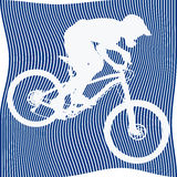 Silhouette of bicyclist on blue background Stock Photos