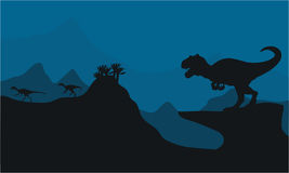 Silhouette of Big Allosaurus. At the night Stock Photo