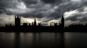 Silhouette of Big Ben and Houses of Parliament, London Royalty Free Stock Photo