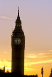 Silhouette Big Ben-London. Big Ben (Clock Tower) of Parliament silhouetted at sunset- London, England Stock Photo