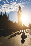 Silhouette of Big Ben and tourists in London at sunset Stock Photo