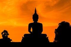 Silhouette big buddha statue sitting on sunset Royalty Free Stock Photography