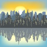 Silhouette of a big city against the background of a light morning sky. The rising sun illuminates everything. The city is vector illustration