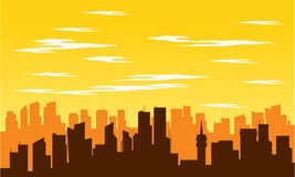 Silhouette of big city at noon Royalty Free Stock Photography
