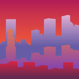 Silhouette of a big city. Silhouette of big city, vivid twilight colors. Vector illustration Stock Photo