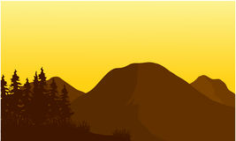 Silhouette of big mountain at sunset Royalty Free Stock Images