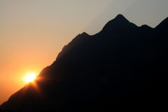 Silhouette of big mountain and sunset and twilight, Chiang Mai, Stock Image