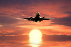 Silhouette of the big plane Stock Photography