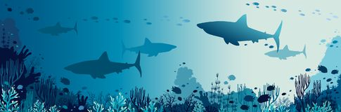 Sharks, coral reef, underwater sea and fishes. Silhouette of big sharks, coral reef and tropical fishes in a blue sea background. Vector panoramic illustration Royalty Free Stock Image