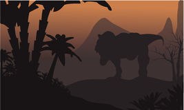 Silhouette of big T-Rex in hills Stock Photos