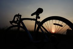 Silhouette of a bike. Stock Images
