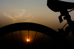 Silhouette of a bike. Royalty Free Stock Images